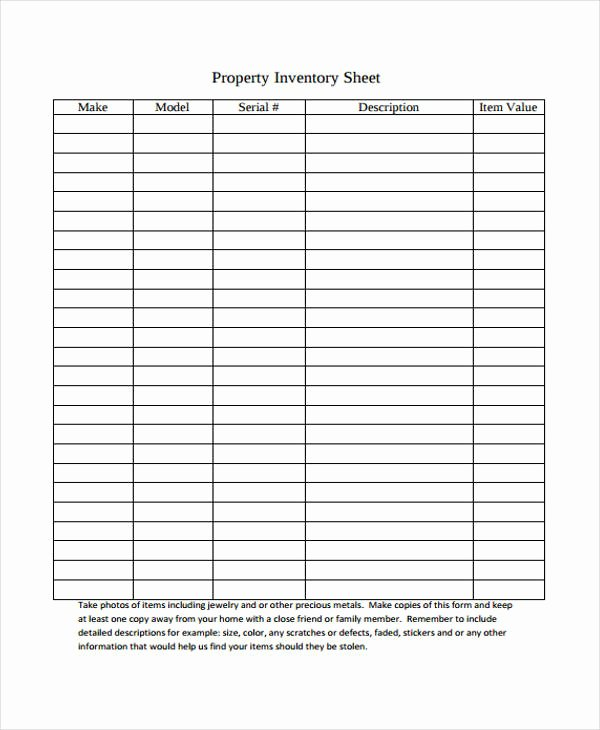 Personal Property Inventory Sheet Unique 15 Inventory Sheet Templates Free Sample Example