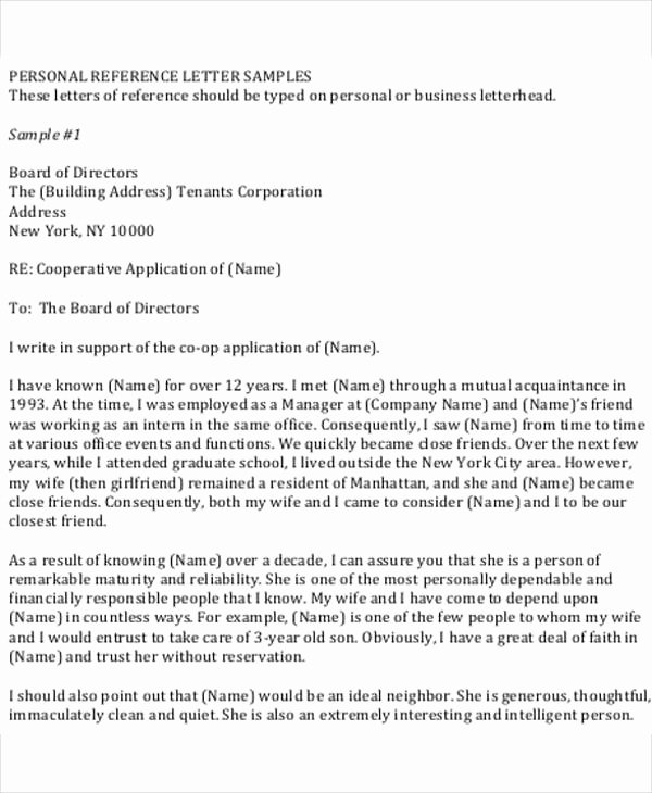 Personal Reference Letter for Apartment Best Of Personal Reference for Rental Application
