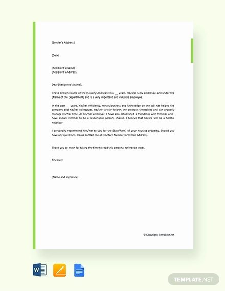 Personal Reference Letter for Apartment Elegant Sample Personal Reference Letter 13 Free Word Excel