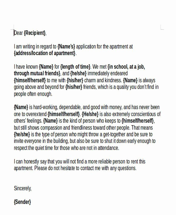 Personal Reference Letter for Apartment Lovely 47 Examples Of Reference Letters Word Google Docs