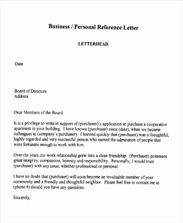 Personal Reference Letter for Apartment New 10 Sample Business Reference Letter Templates Pdf Doc