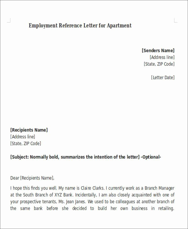 Personal Reference Letter for Apartment New 8 Sample Reference Letters for Apartment Pdf Doc