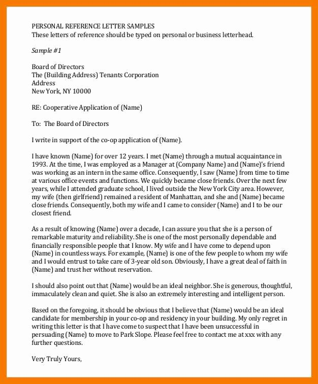 Personal Reference Letter for Apartment New 9 10 Co Op Board Letter Of Re Mendation Sample