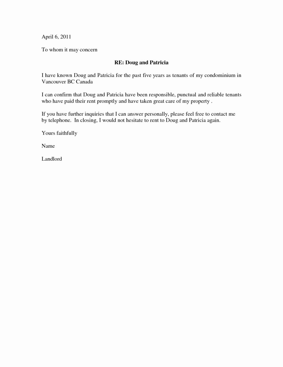 Personal Reference Letter for Apartment New Character Reference Letter for Apartment Rental Sample