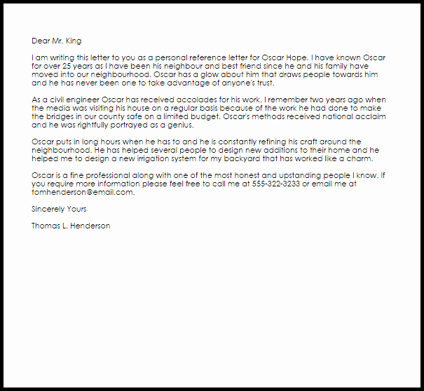 Personal Reference Letter Samples Beautiful Personal Reference Letter Example