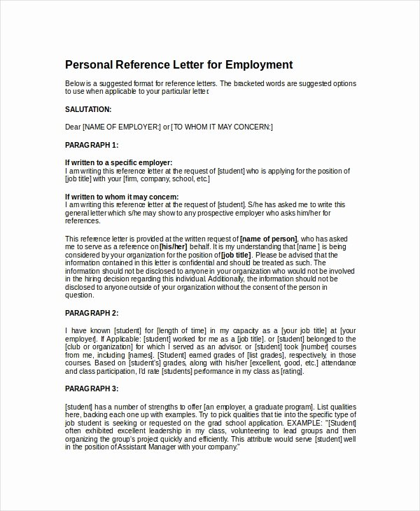 Personal Reference Letters for Employment Lovely 14 Personal Reference Letter Templates Free Sample