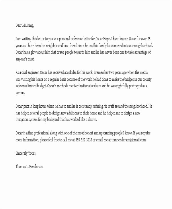 Personal Reference Letters for Employment New Job Reference Letter Templates 11 Free Word Pdf format