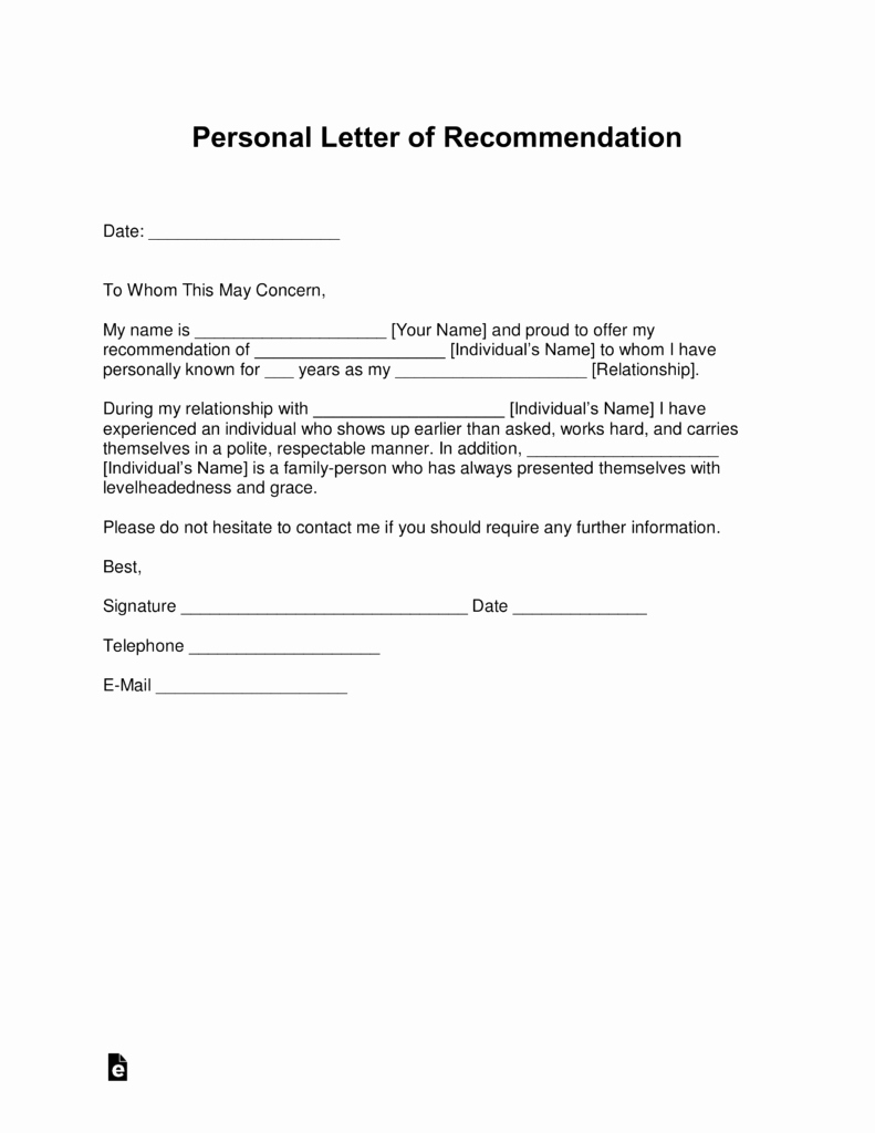 Personal Reference Letters for Employment Unique Free Personal Letter Of Re Mendation Template for A