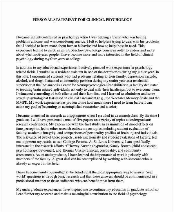 Personal Statement for School Elegant 10 Graduate School Personal Statement Examples