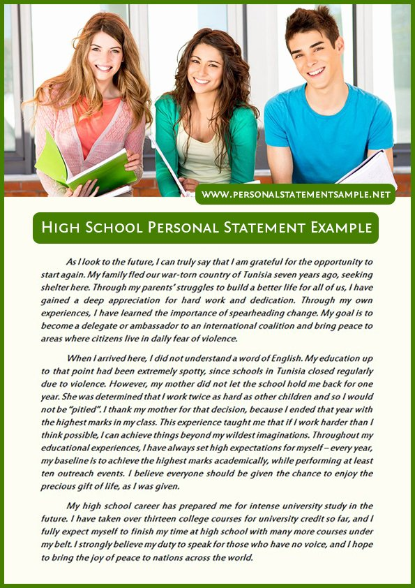 Personal Statement for School Lovely Best High School Personal Statement Examples