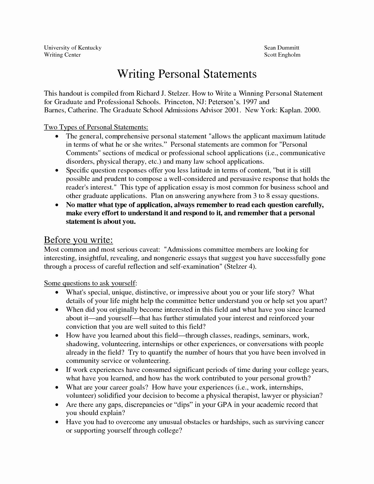 Personal Statement for School Luxury Sample Personal Statements Graduate School