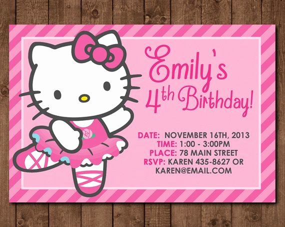Personalized Hello Kitty Birthday Invitations Awesome Personalized Hello Kitty Ballerina Diy Printable Birthday