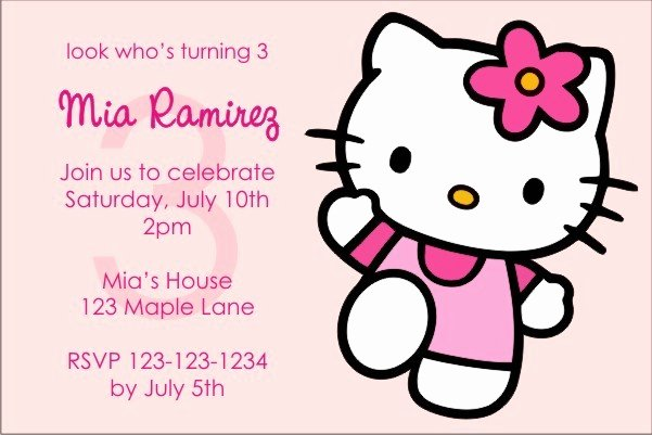 Personalized Hello Kitty Birthday Invitations Beautiful Hello Kitty Invitations Pink Power Personalized Party