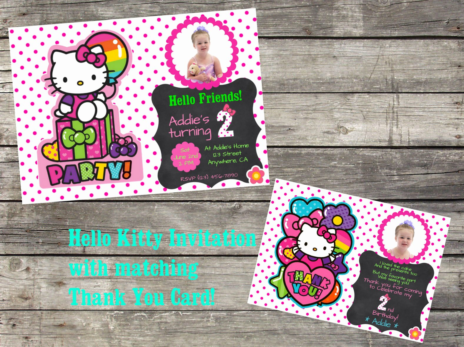 Personalized Hello Kitty Birthday Invitations Beautiful Personalized Hello Kitty Birthday Invitation & Thank You