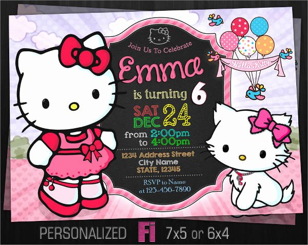 Personalized Hello Kitty Birthday Invitations Best Of 11 Hello Kitty Invitations Word Psd Indesign