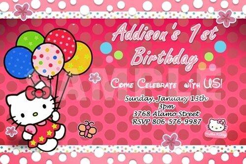 Personalized Hello Kitty Birthday Invitations Best Of Hello Kitty Birthday Party Invitation 1st Customizable
