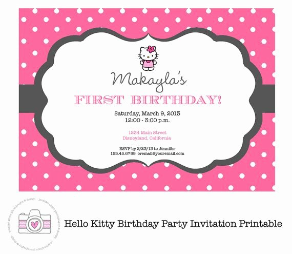 Personalized Hello Kitty Birthday Invitations Best Of Hello Kitty Pink Printable Invitation Personalized