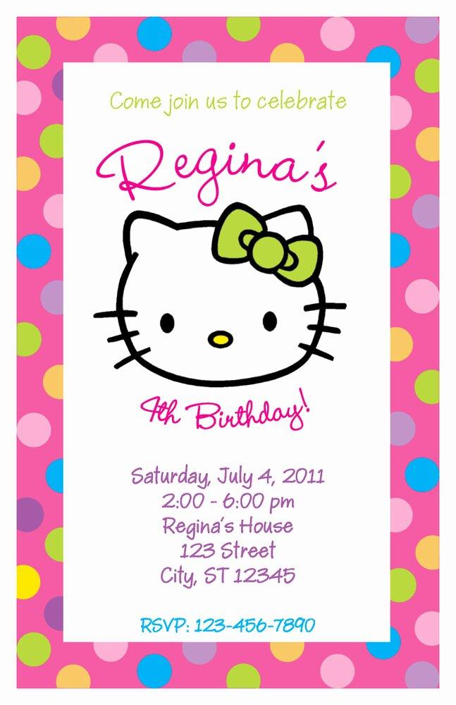 Personalized Hello Kitty Birthday Invitations Best Of Set Of 10 Hello Kitty Personalized Birthday Party