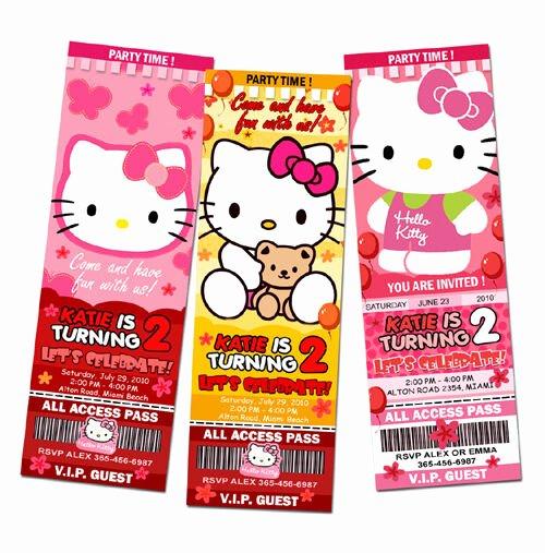 Personalized Hello Kitty Birthday Invitations Fresh Hello Kitty Birthday Party Invitation Ticket Custom Card