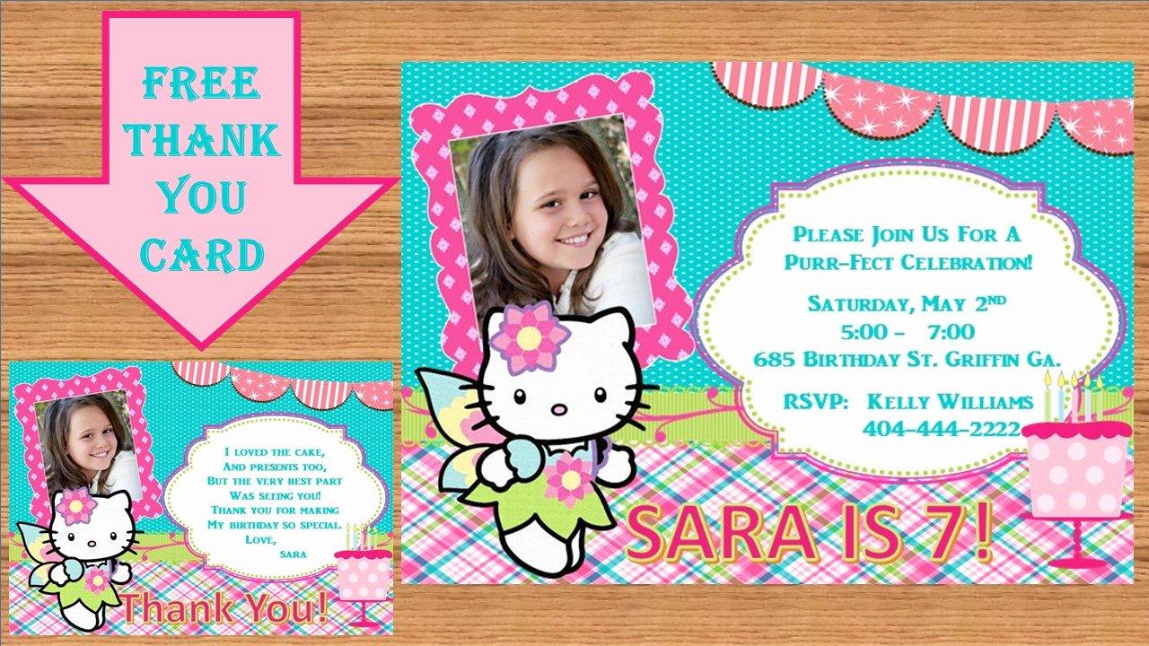 Personalized Hello Kitty Birthday Invitations Inspirational Hello Kitty Birthday Invitation Custom Design Fairy Tale