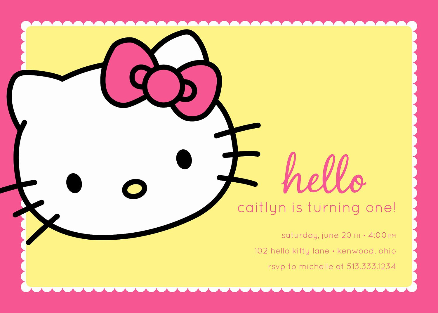 Personalized Hello Kitty Birthday Invitations Inspirational Hello Kitty Birthday Party Invitation Stom by