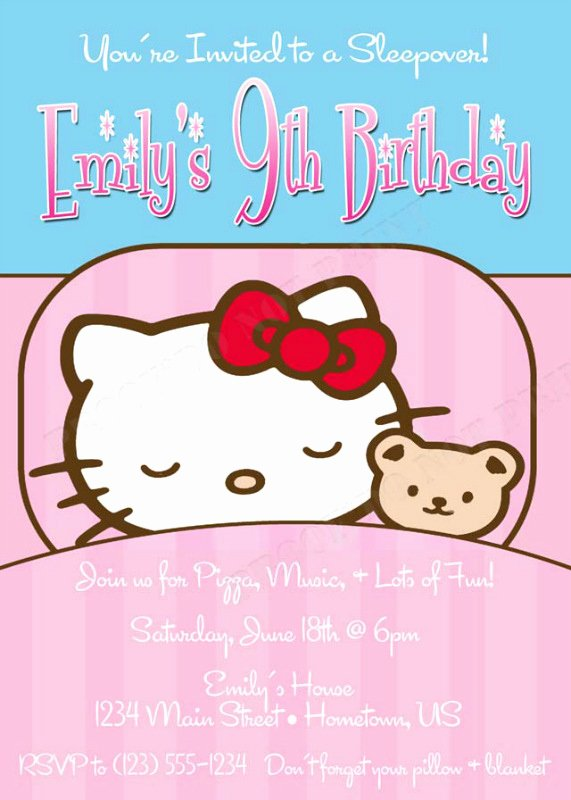 Personalized Hello Kitty Birthday Invitations Inspirational Personalized Printable Invitations
