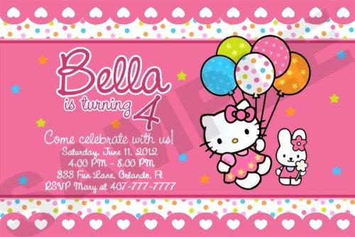 Personalized Hello Kitty Birthday Invitations Lovely Hello Kitty Birthday Party Invitation Custom Photo