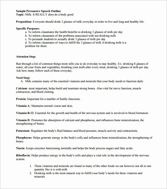 Persuasive Speech Outline Fresh 4 Persuasive Speech Outline Templates Pdf Doc