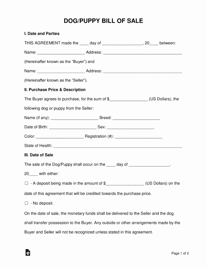 Pet Bill Of Sale Best Of Free Dog Puppy Bill Of Sale form Word Pdf