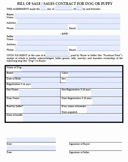 Pet Bill Of Sale Inspirational Download Bill Of Sale for A Dog Puppy Wikidownload