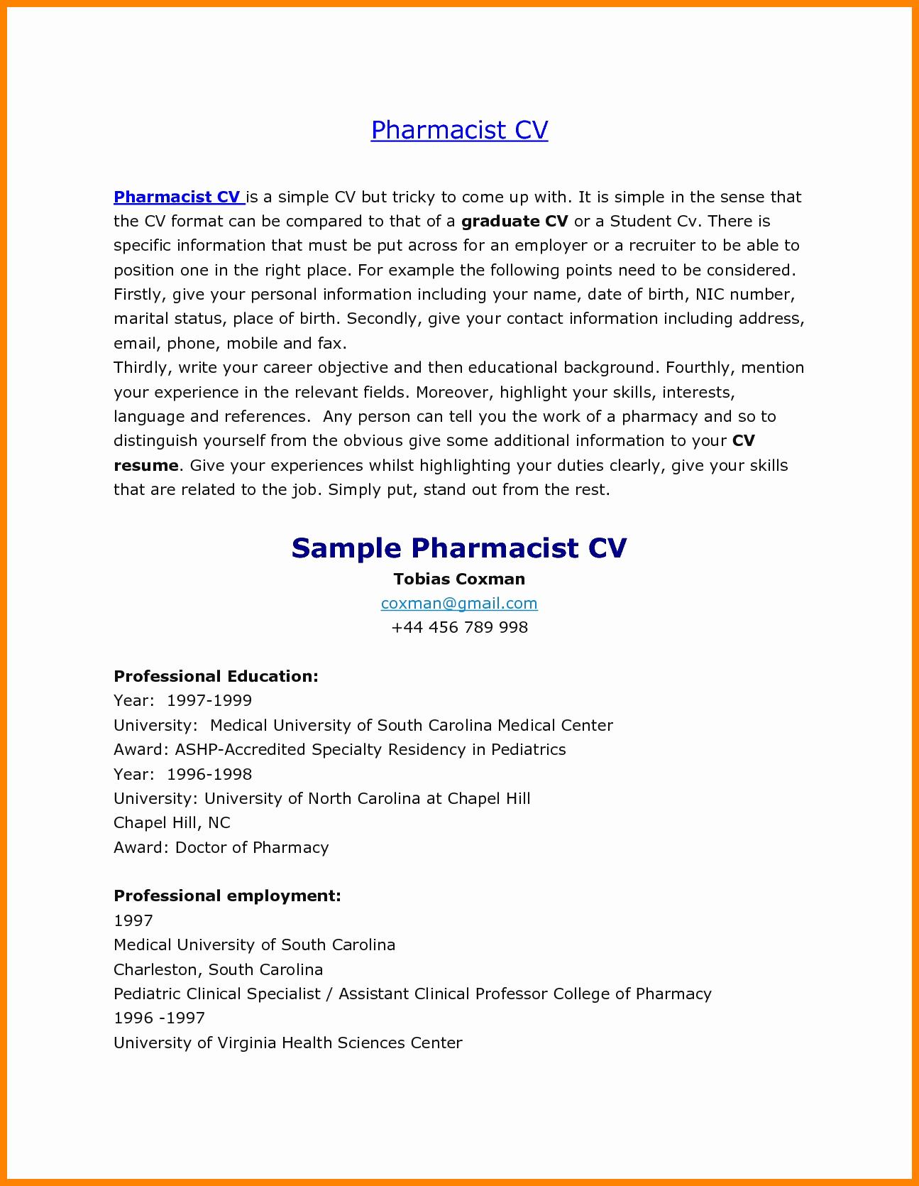 Pharmacist Curriculum Vitae Examples Beautiful 6 Cv Samples for Pharmacists