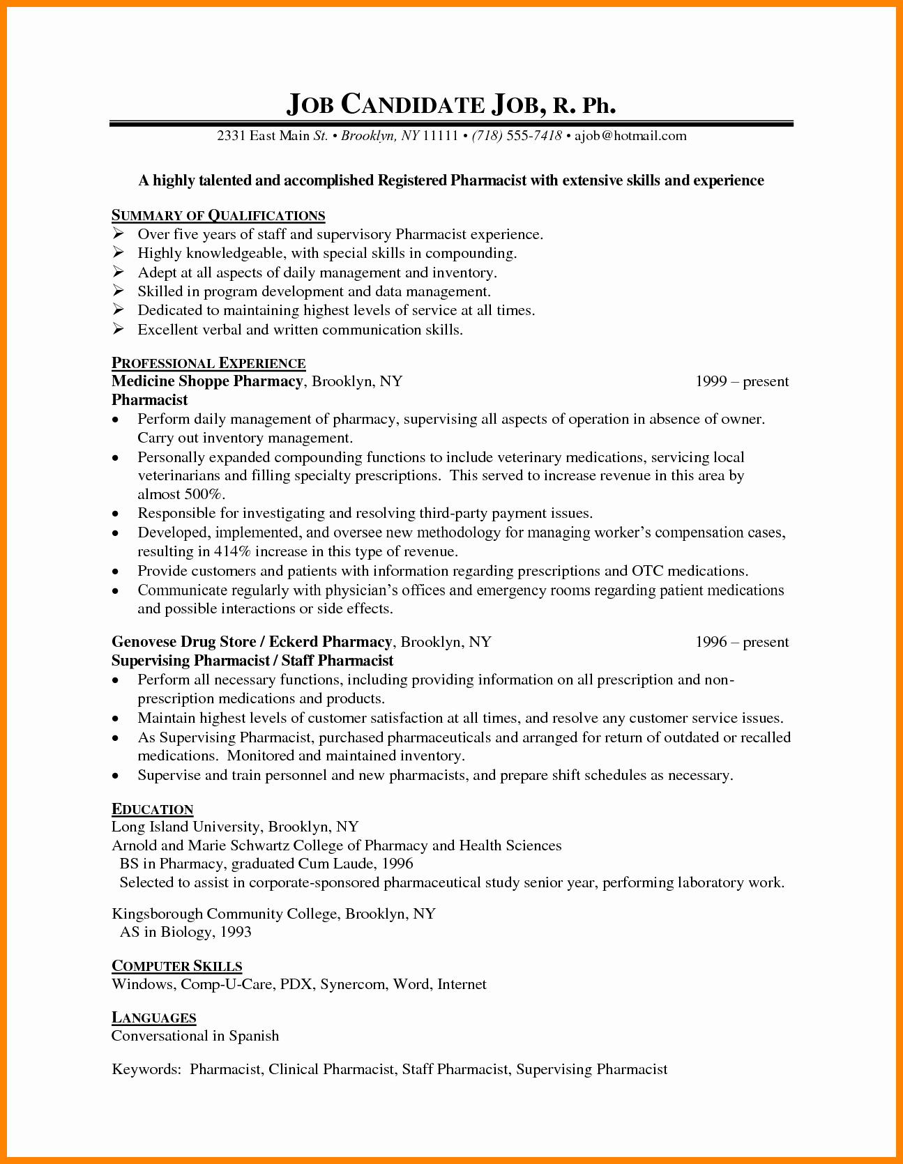 Pharmacist Curriculum Vitae Examples Beautiful 8 Cv Sample for Pharmacist