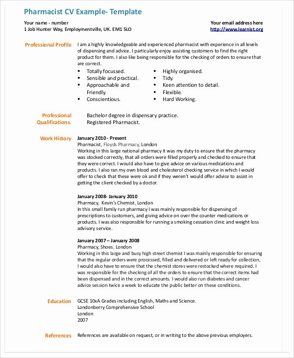 Pharmacist Curriculum Vitae Examples Beautiful 9 Pharmacist Curriculum Vitae Templates Pdf Doc