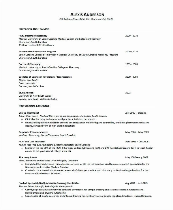 Pharmacist Curriculum Vitae Examples Best Of Curriculum Vitae format for Pharmacy – Guatemalago