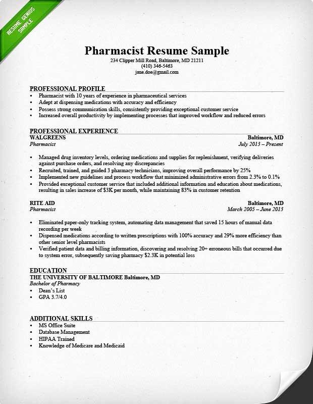Pharmacist Curriculum Vitae Examples Elegant Pharmacist Resume Sample & Writing Tips
