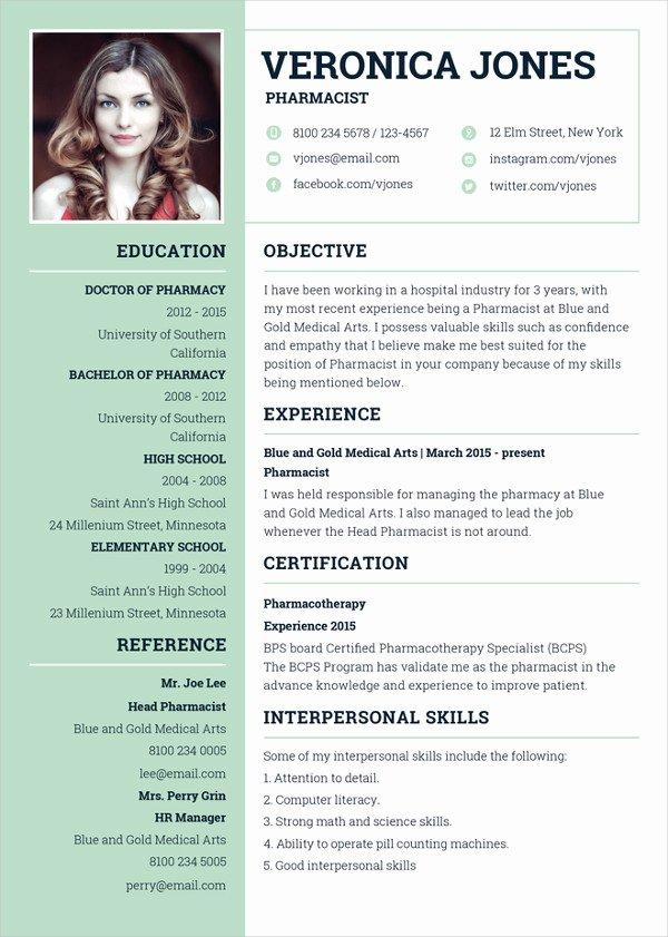 Pharmacist Curriculum Vitae Examples Luxury Pharmacist Resume Template 6 Free Word Pdf Document