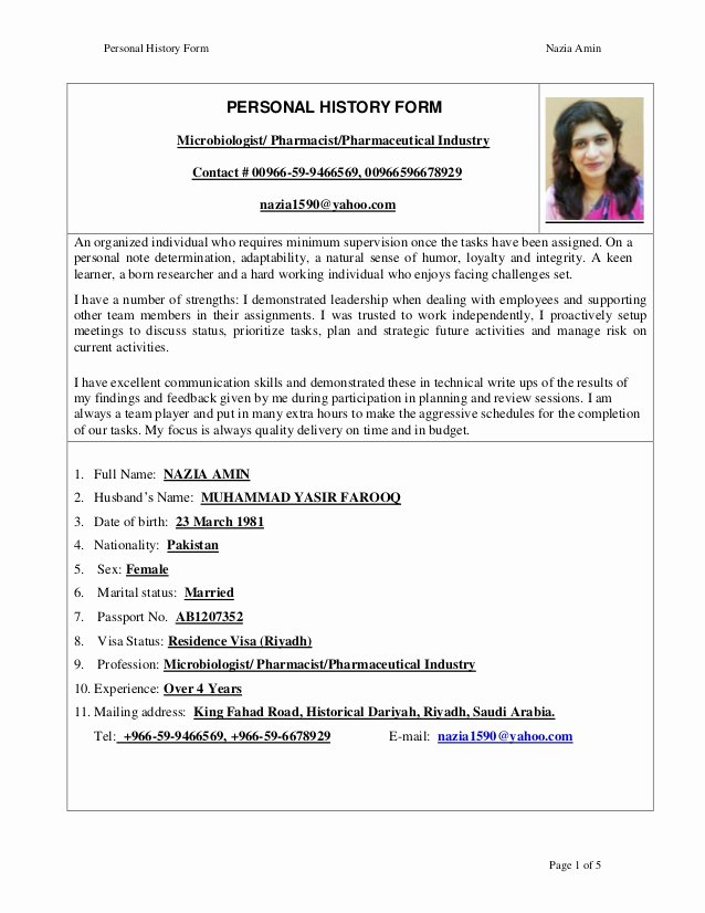 Pharmacist Curriculum Vitae Examples New Nazia Amin Cv Pharmacist 1 Jan 2016
