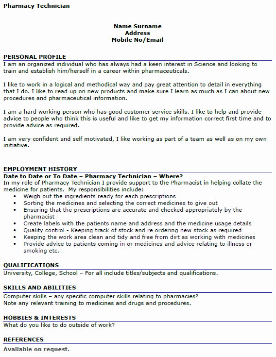 Pharmacist Curriculum Vitae Examples New Pharmacy Technician Cv Example Icover