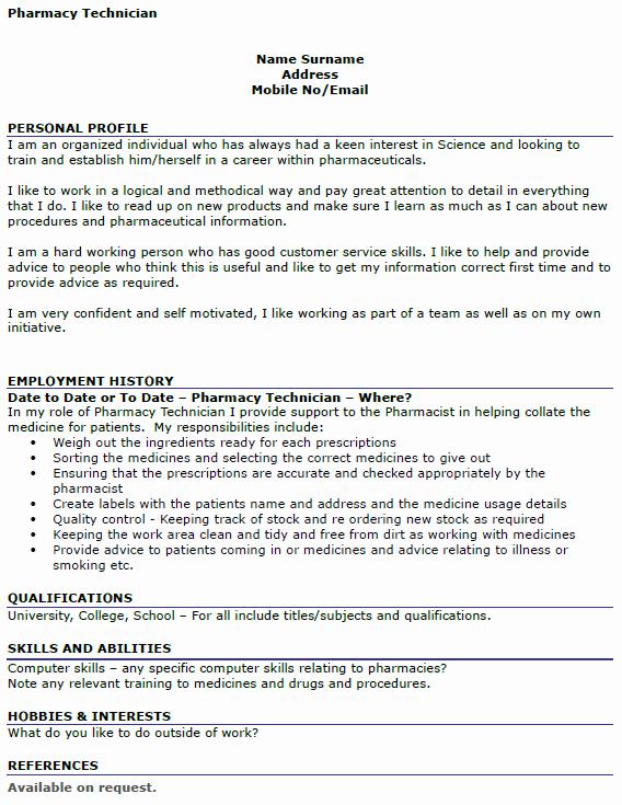 Pharmacist Curriculum Vitae Examples New Pharmacy Technician Cv Example Icover