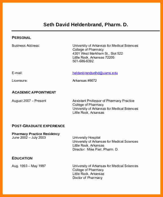 Pharmacy Curriculum Vitae Examples Best Of 6 Cv Pharmacy Student