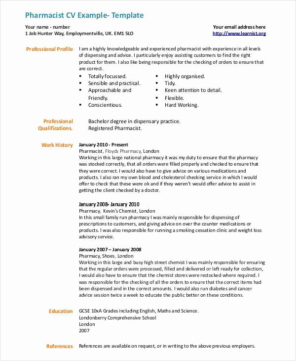 Pharmacy Curriculum Vitae Examples Fresh 20 Cv Examples In Pdf