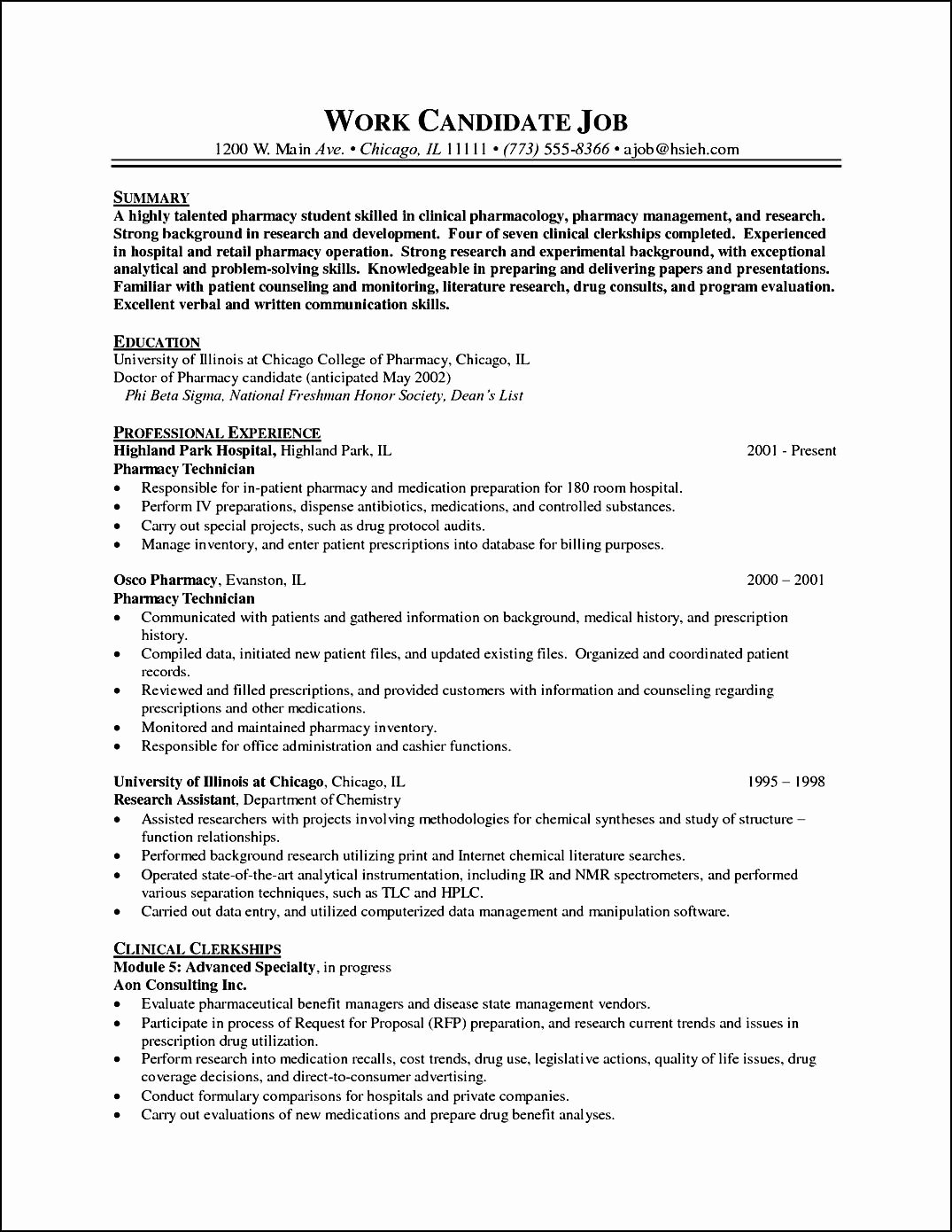 Pharmacy Curriculum Vitae Examples Fresh Pharmacy Curriculum Vitae Example Free Samples