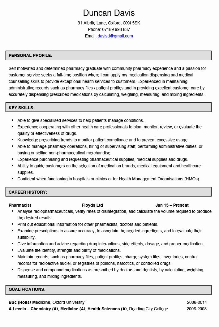 Pharmacy Curriculum Vitae Examples Inspirational Curriculum Vitae format for Pharmacy – Guatemalago