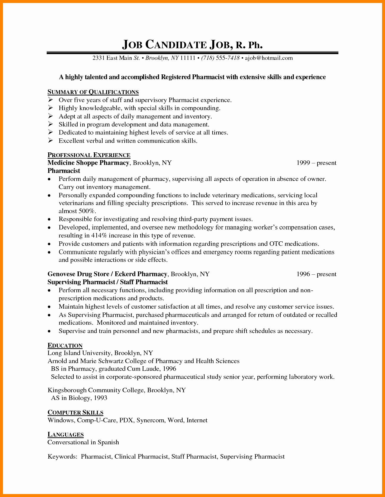 Pharmacy Curriculum Vitae Examples Lovely 8 Cv Sample for Pharmacist