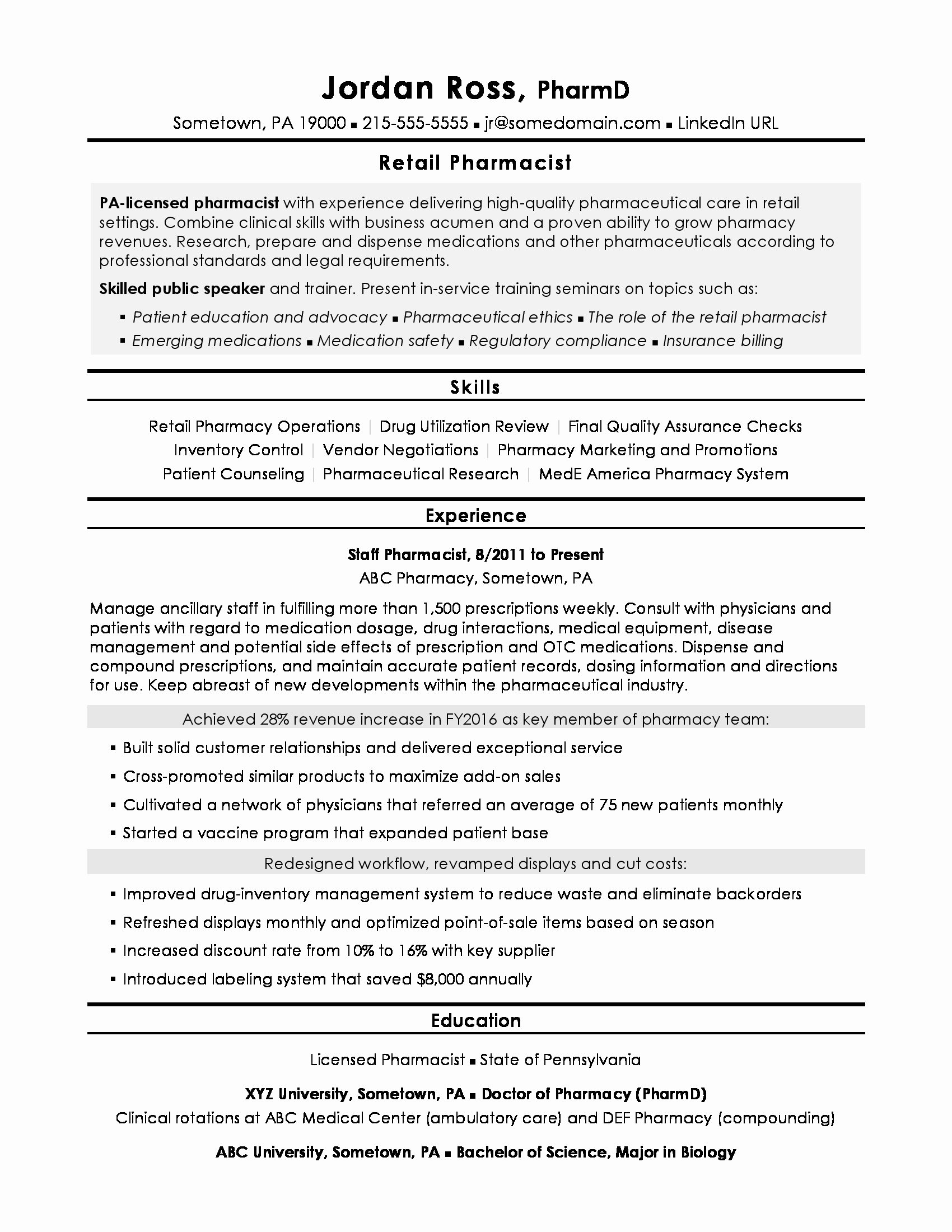 Pharmacy Curriculum Vitae Examples Lovely Pharmacist Resume Sample