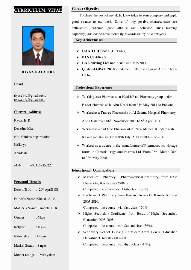 Pharmacy Curriculum Vitae Examples Luxury Riyaz Kalathil Haad Pharmacist Cv