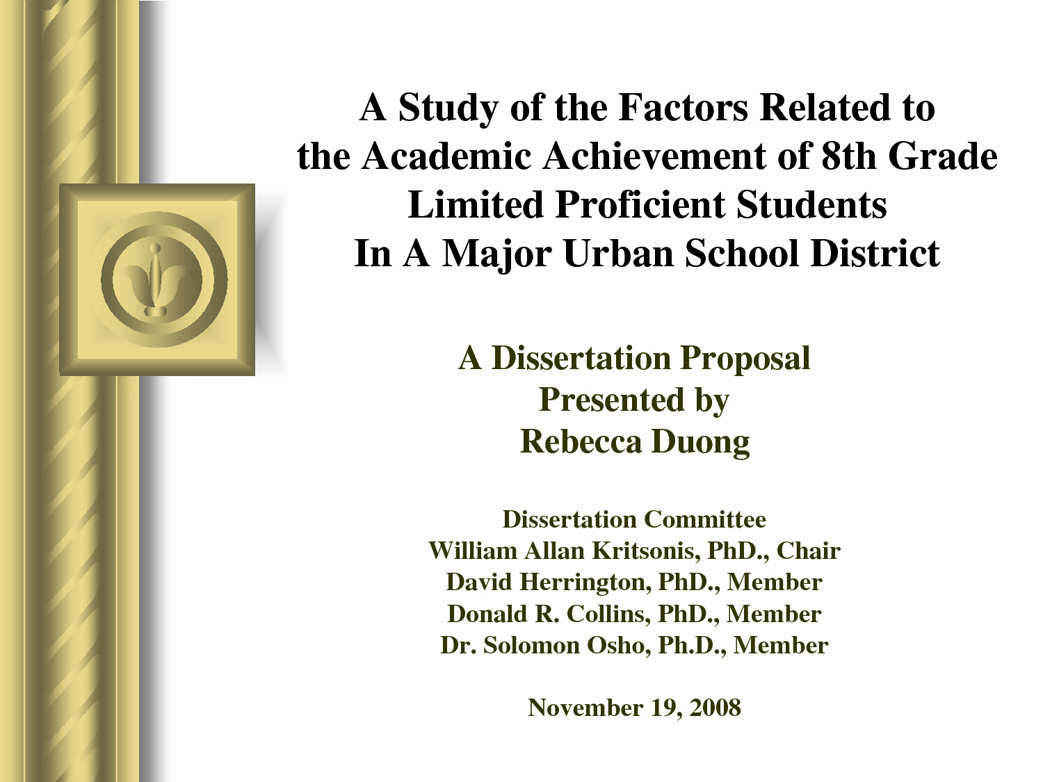 Phd Dissertation Proposal Sample Awesome Proposal for Phd thesis Ppt