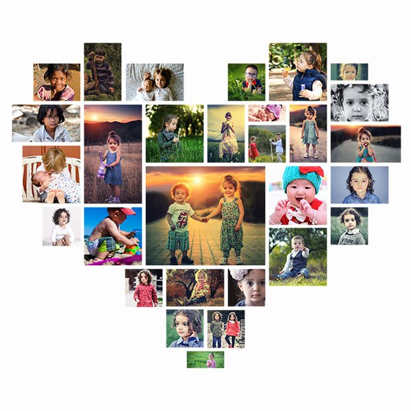 Photo Collage Template Photoshop Awesome Effect Heart Shaped Shop Collage Template