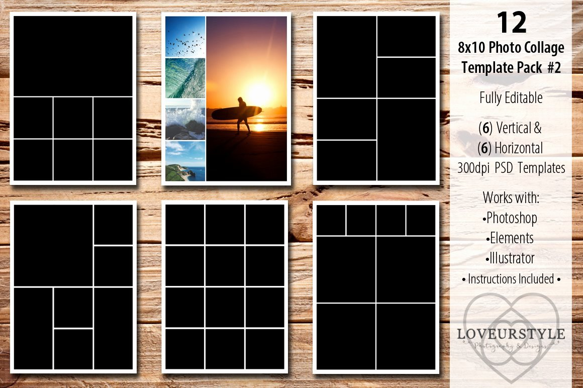 Photo Collage Template Photoshop New 8x10 Collage Template Pack 2 Templates Creative