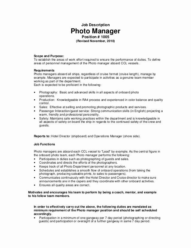 Photographer Job Description Sample Fresh Job Description Manager